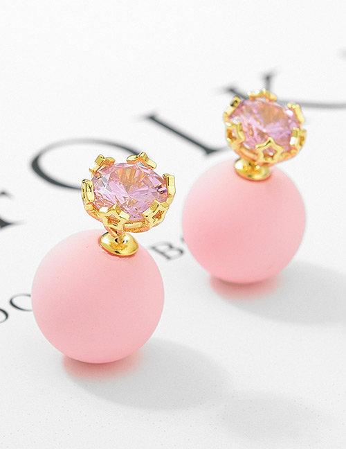 Fashion Pink+gold Color Diamond Decorated Earrings
