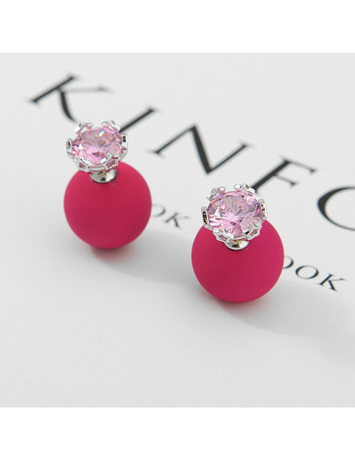 Fashion Plum Red+silver Color Diamond Decorated Earrings