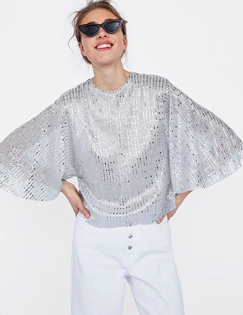 Fashion Silver Color Sequins Decorated Shirt