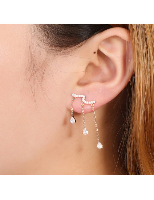 Fashion Gold Color Water Drop Shape Decorated Earrings