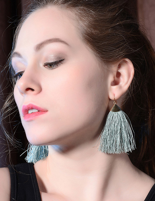 Elegant Green Tassel Decorated Pure Color Earrings