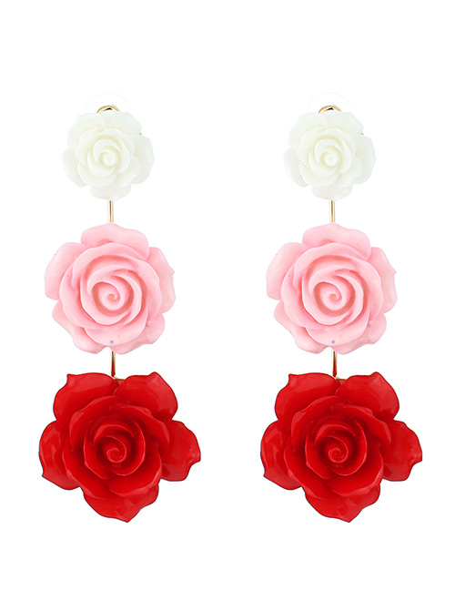 Elegant Red+pink Flowers Decorated Color Matching Earrings
