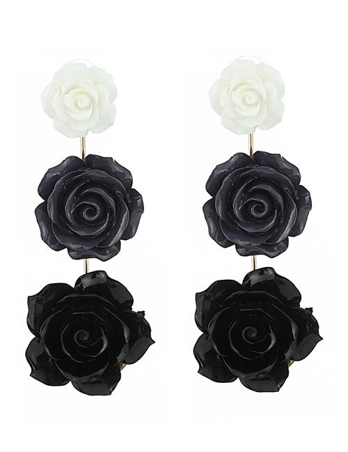 Elegant Black+white Flowers Decorated Color Matching Earrings