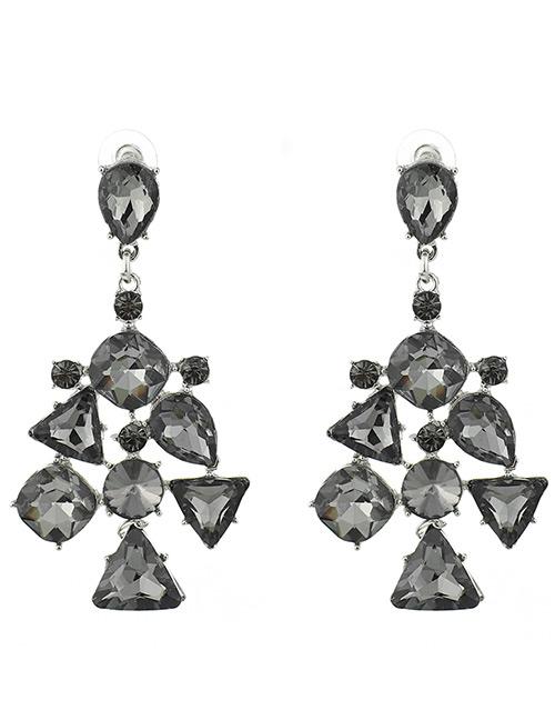 Elegant Black Geometric Shape Diamond Decorated Earrings