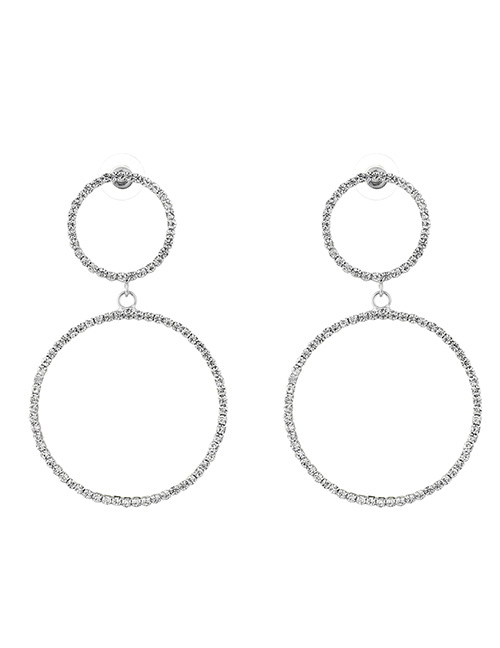 Elegant Silver Color Circular Ring Decorated Earrings