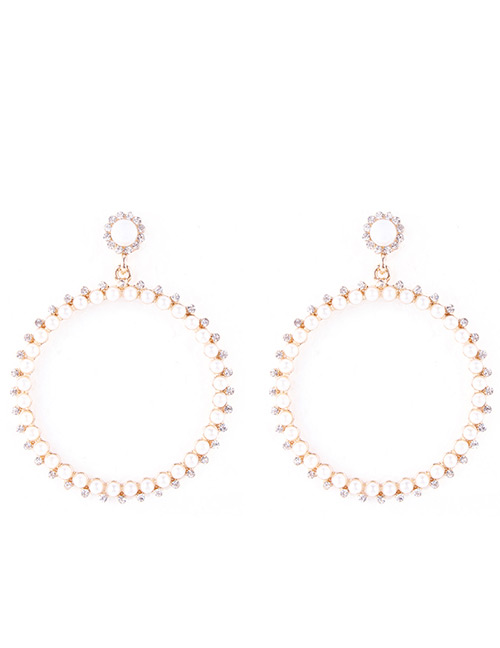 Elegant Gold Color Pearls Decorated Round Shape Earrings