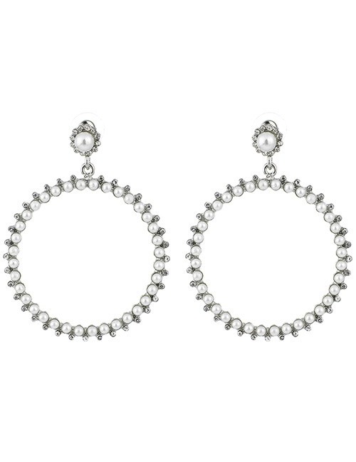 Elegant Silver Color Pearls Decorated Round Shape Earrings