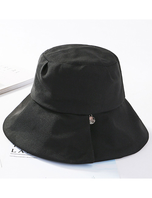 Fashion Black Pure Color Design Fisherman Hat