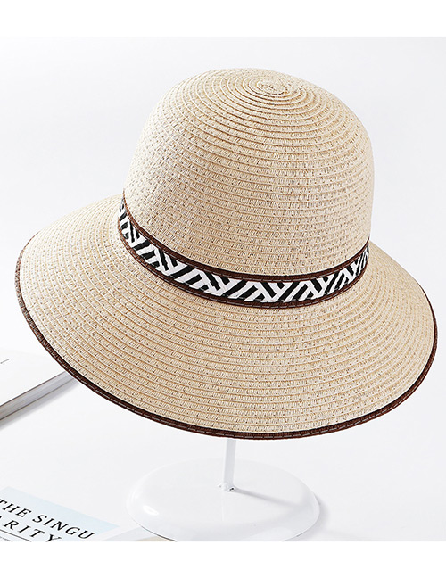 Fashion Beige Stripe Pattern Design Sunscreen Beach Hat
