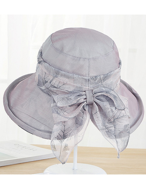 Fashion Gray Bowknot Decorated Foldable Anti-ultraviolet Hat