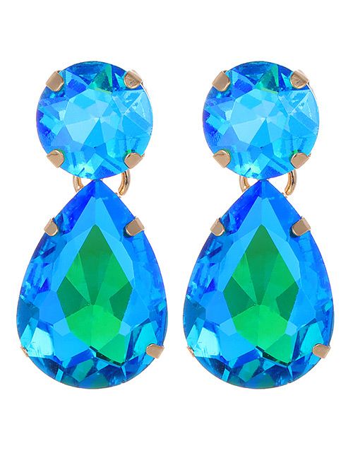 Fashion Green+blue Diamond Decorated Color Mathcing Earrings