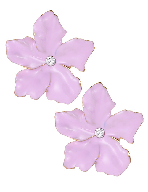 Fashion Light Pink Flowers Shape Design Simple Earrings
