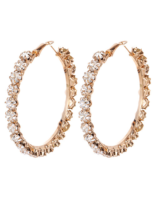 Fashion Gold Color Full Diamond Decorated Earrings (large)