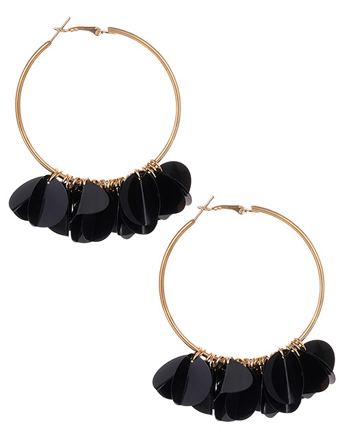 Fashion Black Round Shape Decorated Pure Color Earrings