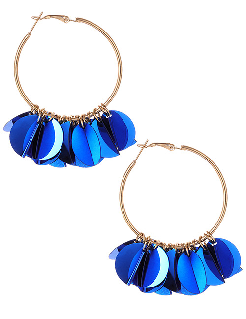 Fashion Sapphire Blue Round Shape Decorated Pure Color Earrings