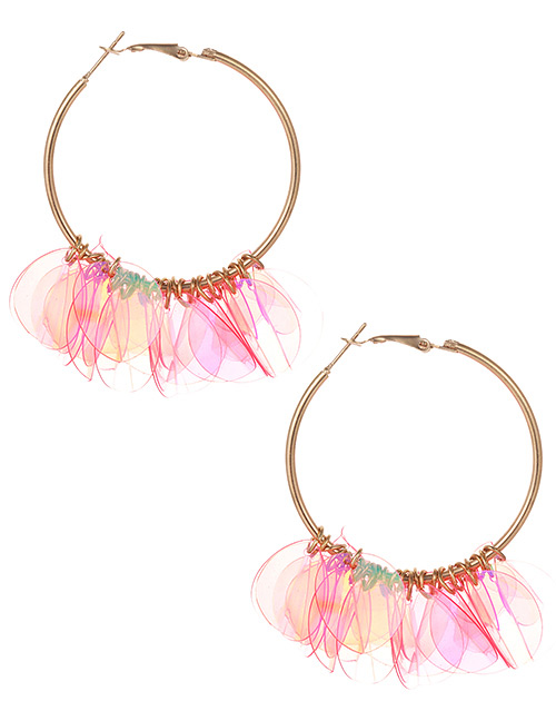 Fashion Pink Round Shape Decorated Pure Color Earrings