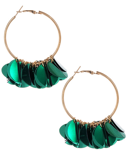 Fashion Green Round Shape Decorated Pure Color Earrings