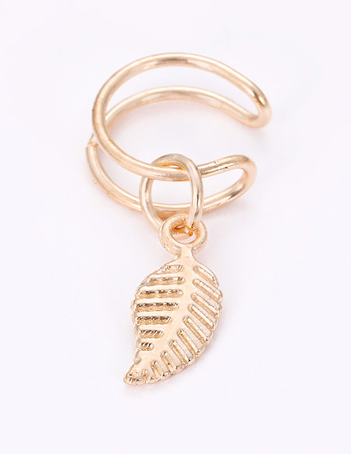 Fashion Gold Color Leaf Decorated Pure Color Earrings(1pcs)