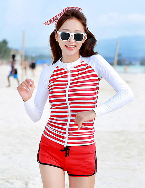 Sexy Red+white Stripe Pattern Design Long Sleeves Swimsuit(3pcs)