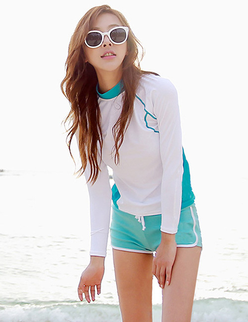 Sexy White+blue Color Matching Design Casual Swimsuit