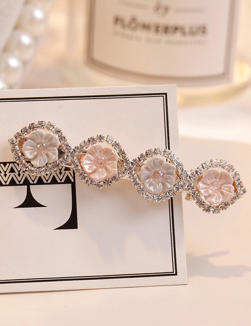 Sweet Light Gray+pink Flowers Decorated Color Matching Hair Clip