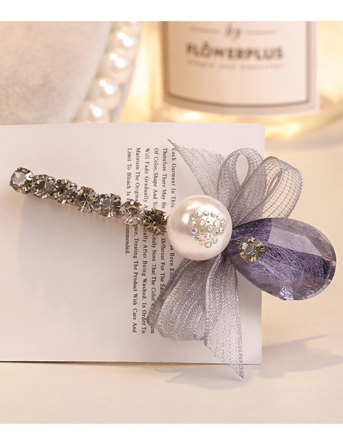 Sweet Gray+purple Pearls&bowknot Decorated Hair Clip