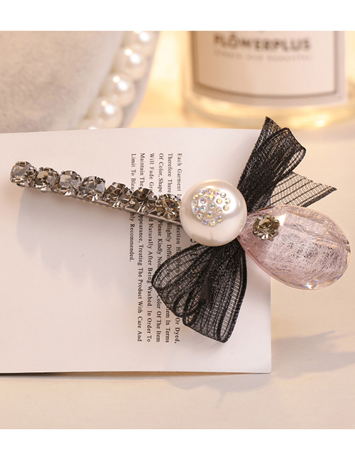 Sweet Black Pearls&bowknot Decorated Hair Clip