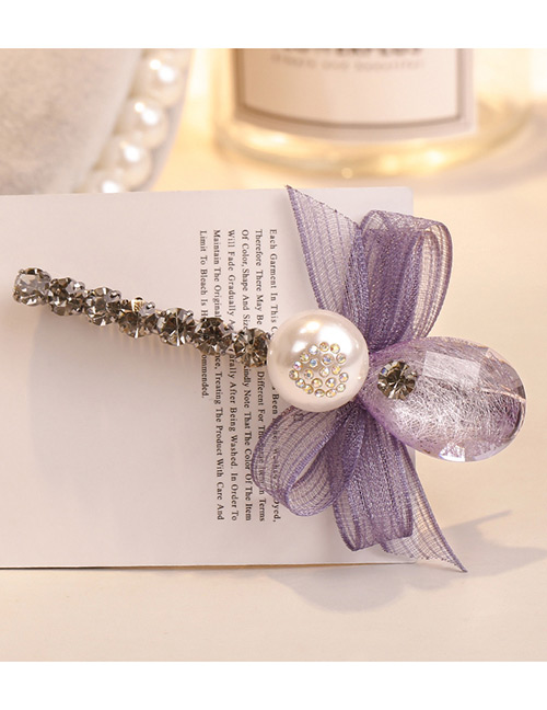 Sweet Light Purple Pearls&bowknot Decorated Hair Clip