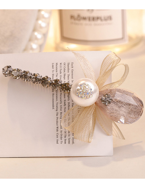 Sweet Apricot Pearls&bowknot Decorated Hair Clip