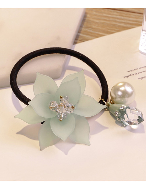 Sweet Green Flowers&pearls Decorated Hair Band