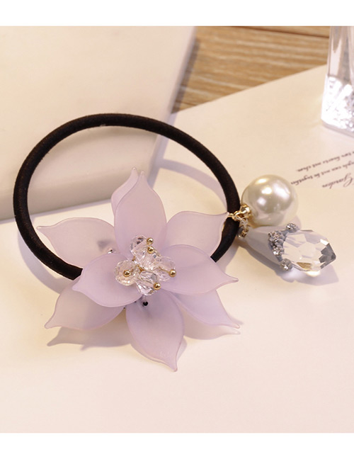 Sweet Light Purple Flowers&pearls Decorated Hair Band
