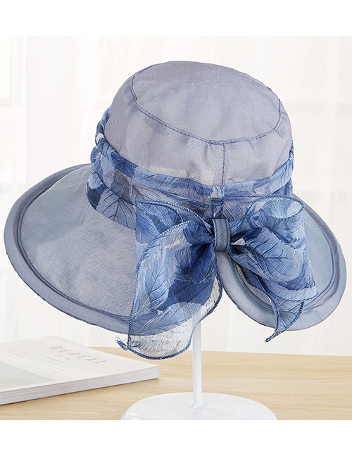 Fashion Navy Bowknot Decorated Foldable Anti-ultraviolet Hat