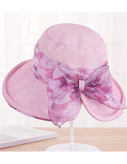 Fashion Pink Bowknot Decorated Foldable Anti-ultraviolet Hat
