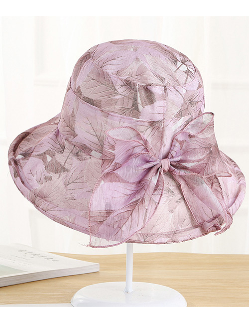 Fashion Pink Leaf Pattern Design Foldable Sunscreen Hat