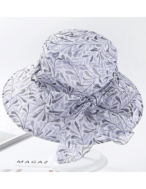 Fashion Gray Leaf Pattern Design Foldable Sunscreen Hat