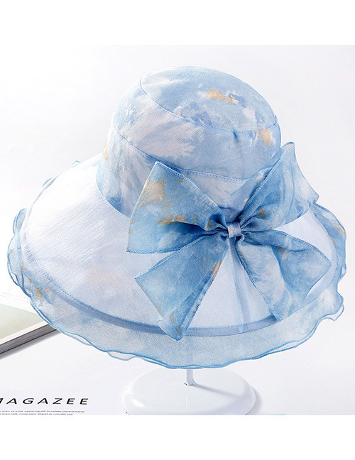 Fashion Blue Bowknot Decorated Wave Shape Sunscreen Hat