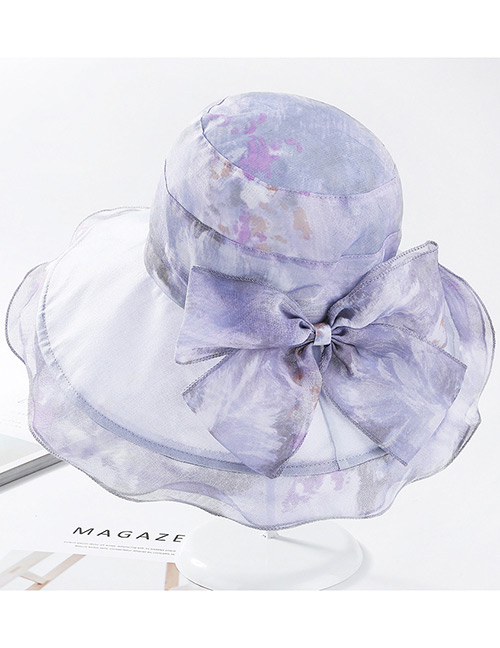 Fashion Gray Bowknot Decorated Wave Shape Sunscreen Hat