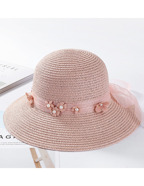 Fashion Pink Flowers Decorated Pure Color Sunscreen Hat