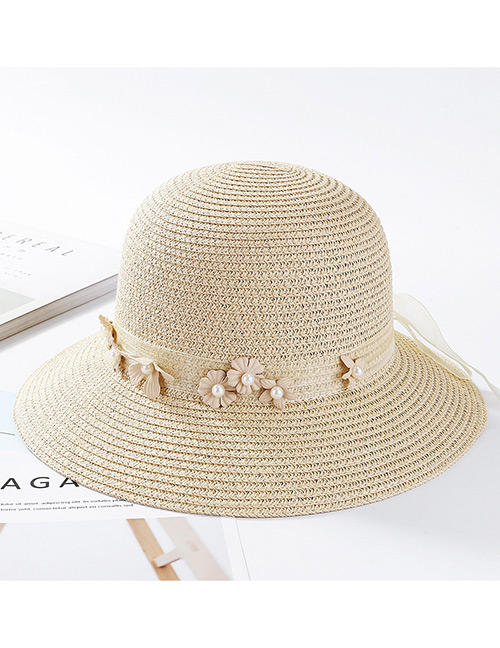 Fashion Beige Flowers Decorated Pure Color Sunscreen Hat