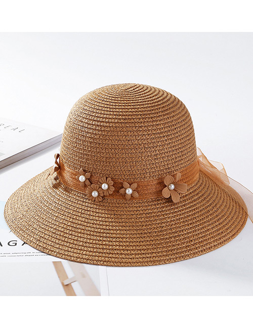 Fashion Light Coffee Flowers Decorated Pure Color Sunscreen Hat
