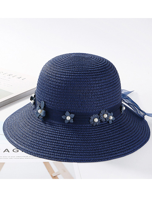 Fashion Navy Flowers Decorated Pure Color Sunscreen Hat