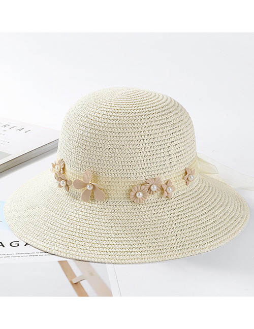 Fashion Milky White Flowers Decorated Pure Color Sunscreen Hat