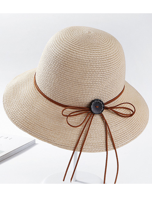 Fashion Beige Pure Color Design Sunscreen Hat