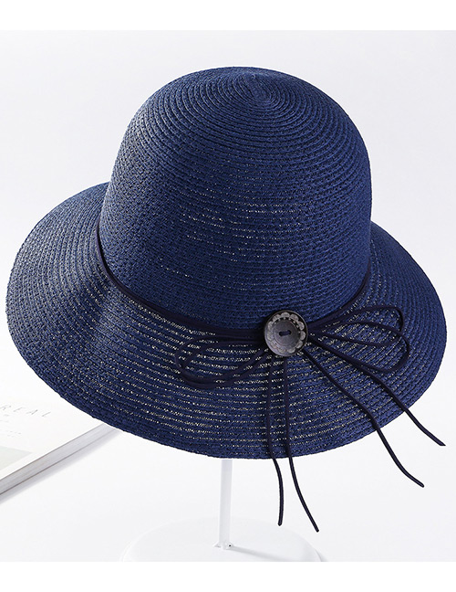 Fashion Navy Pure Color Design Sunscreen Hat