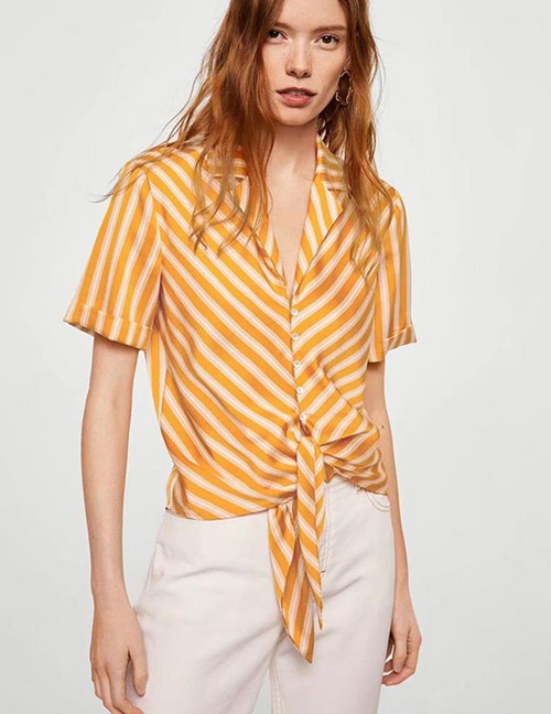 Fashion Yellow Stripe Pattern Decorated Short Sleeves Shirt