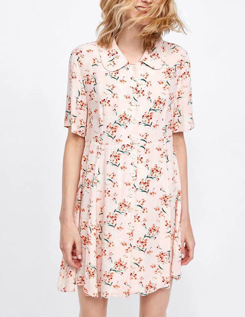 Fashion Pink Flowers Pattern Decorated Short Sleeves Dress