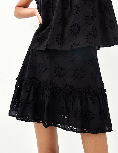 Fashion Black Hollow Out Design Pure Color Dress