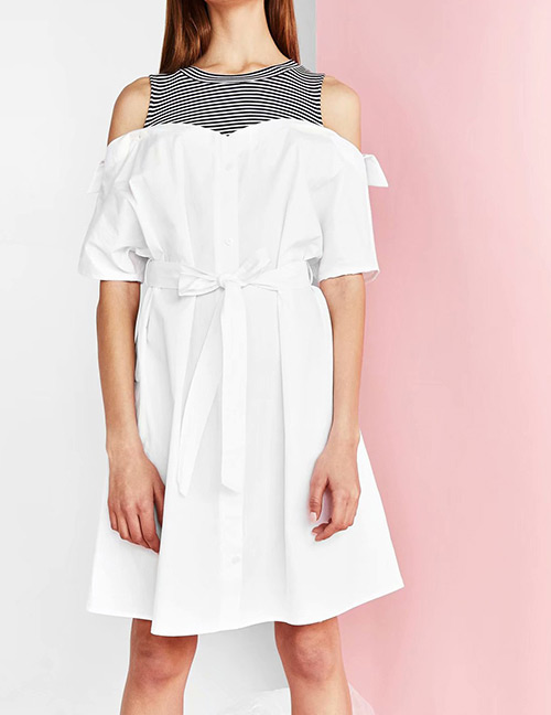 Fashion White Stripe Pattern Decorated Simple Dress