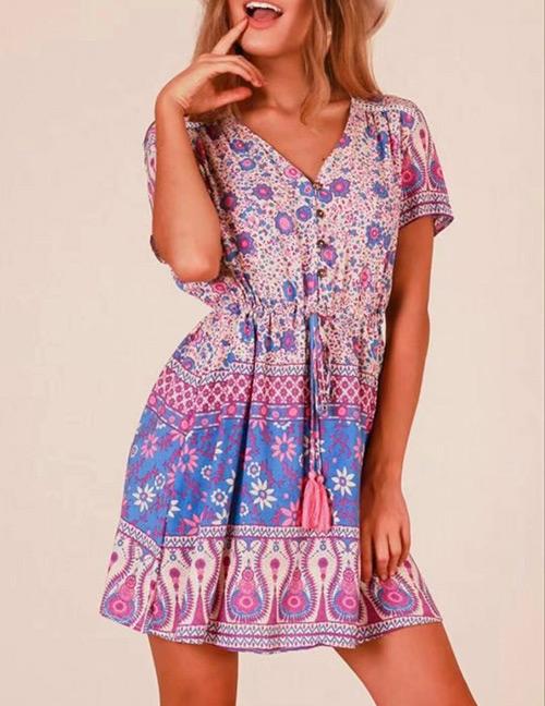 Fashion Pink+blue Tassel Decorated V Neckline Dress