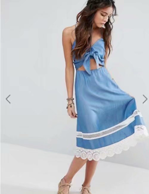 Fashion Blue Lace Decorated Suspender Dress